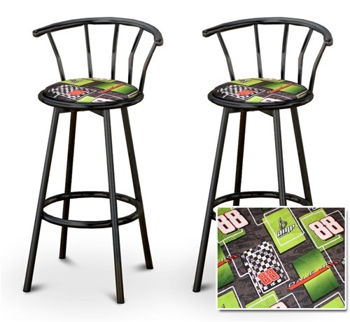 The Furniture Cove 2 Dale Earnhardt Jr. Nascar AMP #88 Specialty/Custom Black Barstools with B.