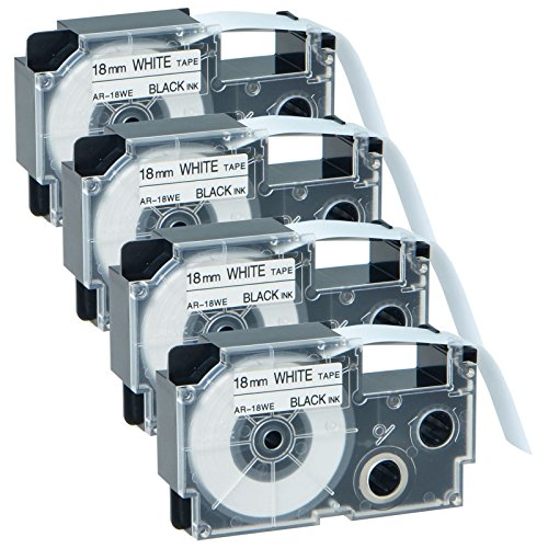 GREENCYCLE 4 Pack Compatible XR-18WE XR-18WE2S Black on White Label Tape 3/4