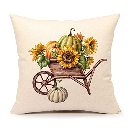 4TH Emotion Pumpkin Sunflower Throw Pillow Cover Fall Cushion Case for Sofa Couch 18 x 18 Inch Cotton Linen