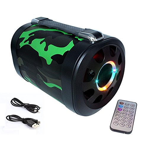 Hrome Portable Bluetooth Speaker Wireless Speaker, Big Bomb Speaker in 10W Power, Bring Amazing Music Built in Subwoofer, FM Radio,5 Music Models,USB Driver and LED Beat With Remote, Rugged