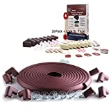 SafeBaby & Child Safety Edge Corner Guard Set. 23.2ft,16 Baby proofing Furniture Foam/Clear Bumpers +26 Corners Set. Childproof Table Cushion, Fireplace Bricks. Fridge/Toilet Lock. Brown White
