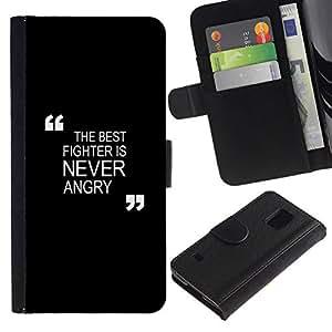 All Phone Most Case / Oferta Especial Cáscara Funda de cuero Monedero Cubierta de proteccion Caso / Wallet Case for Samsung Galaxy S5 V SM-G900 // negro de motivación de boxeo combate Zen