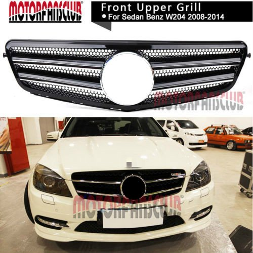 MotorFansClub Grille Black Chrome Front Sport Grill for Mercedes Benz C Class W204 C63 08-14 AMG Style