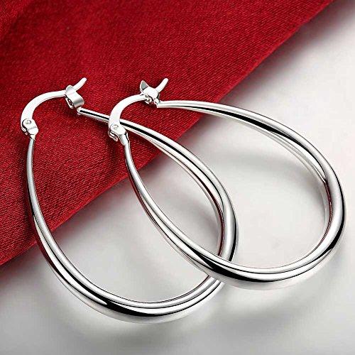 Huangiao 925 Sterling Silver Fashion Classic Big Hoop Drop Dangle Earring
