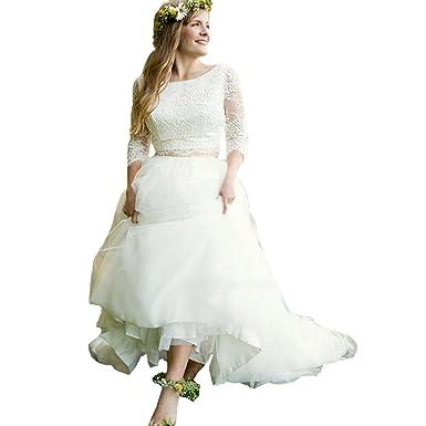 9f675423e8d Modeldress Women s 2 Piece Wedding Dresses Three Quarter Sleeve Ball Gown  for Bride Ivory-US2