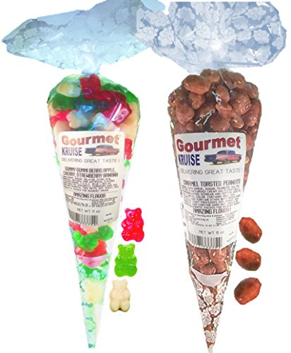 Green Apple Red Wild Cherry White Strawberry Banana Gummy Gummi Bears And Caramel Toasted Peanuts (NET WT 19 OZ) Gourmet Kruise Signature Gift Bags -