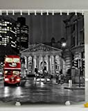 World Explorer European Cityscape London Decor, Red Bus St Paul's Cathedral Tower Traffic Sign in England Britain Night Scenery Artwork for Bathroom Home Fabric Picture Print Shower Curtain, Dark Gray