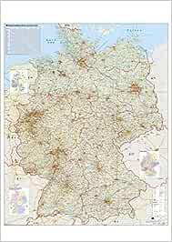 Verkehrswegekarte Deutschland. Wandkarte / Poster gerollt im Kunststoffrohr