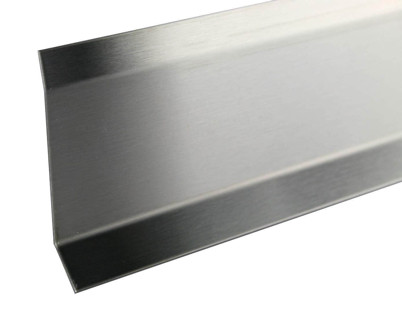 60 mm FUCHS Sockelleiste Edelstahl V2A Geb/ürstet 2,5 METER H/öhe