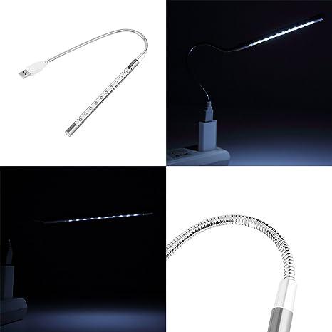 TiooDre - Lámpara de Escritorio portátil con USB LED, Interruptor táctil Flexible, 10 ledes