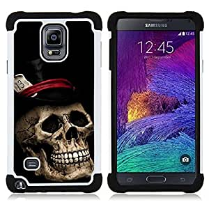 """Pulsar ( Sombrero de Copa Poker Tarjetas de Halloween Música metal"""" ) Samsung Galaxy Note 4 IV / SM-N910 SM-N910 híbrida Heavy Duty Impact pesado deber de protección a los choques caso Carcasa de parachoques"""