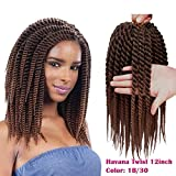 Karida 6pcs 12inch Havana Twist Crochet Hair Havana Mambo Twist Crochet Braids Jumbo Senegalese Twist Synthetic Crochet Braiding HairExtensions 12 Roots/Pack (T1B/30)