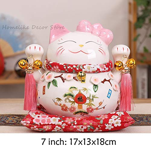 VietFA Maneki Neko&Lucky Cat - 1Pc Cartoon Maneki Neko Ceramic Lucky Cat Ornament Pink Bow-Tie Fortune Cat Statue Home Ative Figurine - by GTIN - 1 Pcs - Cat Angel Statue