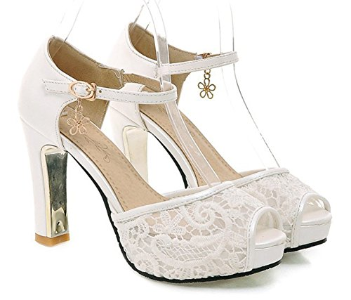 (SFNLD Women's Sweet Peep Toe Low Cut Mesh Platform Ankle Strap High Chunky Heel Pumps Shoes with Buckle White 5 B(M) US )