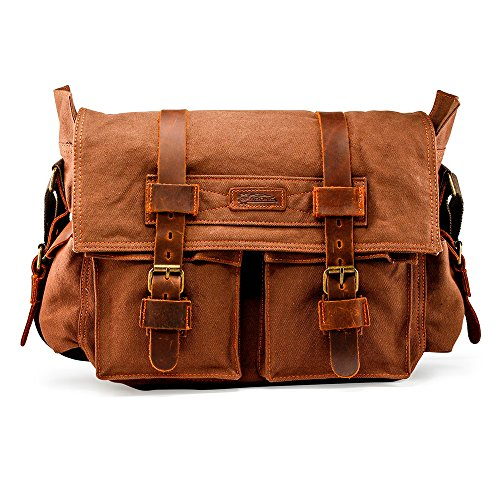 (GEARONIC GEARONIC Mens Canvas Leather Messenger Bag for 14