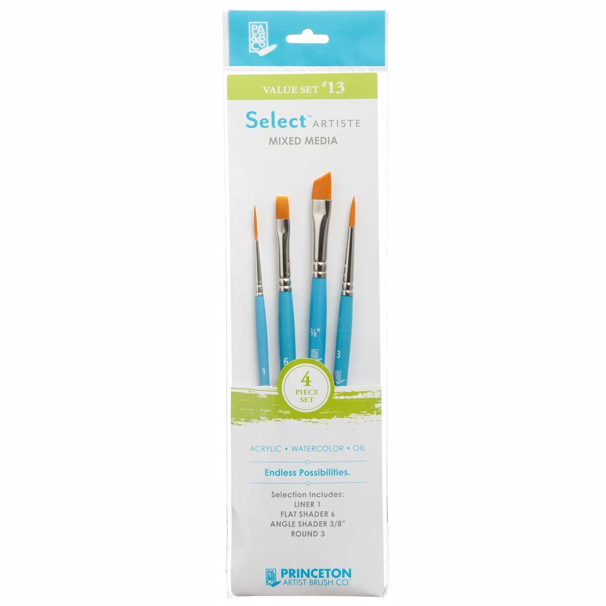 Princeton Select Artiste, Mixed-Media Brushes for Acrylic, Oil, Watercolor Series 3750, 4 Piece Value Set 113