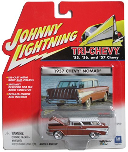 (Johnny Lightning Tri-Chevy 1957 Chevy Nomad Brown with White)