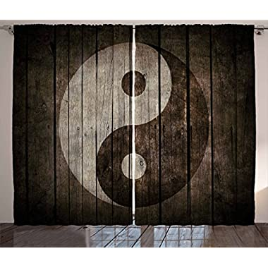 Ambesonne Ying Yang Decor Collection, Rustic Wood with Ying Yang Sign Art Grunge Design Zen Peace Balance Yoga Nature Theme, Living Room Bedroom Curtain 2 Panels Set, 108 X 84 Inches, Beige Brown
