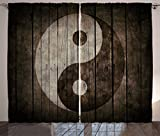 Ambesonne Ying Yang Decor Collection, Rustic Wood with Ying Yang Sign Art Grunge Design Zen Peace Balance Yoga Nature Theme, Living Room Bedroom Curtain 2 Panels Set, 108 X 90 Inches, Beige Brown For Sale
