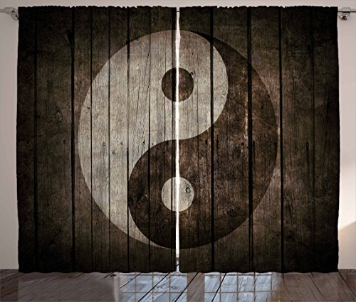 Peace Window (Ambesonne Ying Yang Decor Collection, Rustic Wood with Ying Yang Sign Art Grunge Design Zen Peace Balance Yoga Nature Theme, Living Room Bedroom Curtain 2 Panels Set, 108 X 84 Inches, Beige Brown)