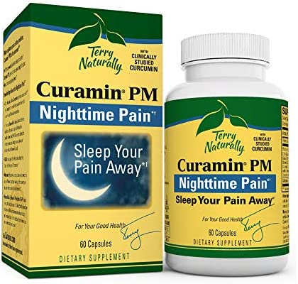 Terry Naturally Curamin PM 2 Pack – 60 Vegan Capsules – Non-Habit Forming Nighttime Pain Relief Supplement, Contains Curcumin Melatonin – Non-GMO, Gluten-Free, Kosher – 60 Total Servings