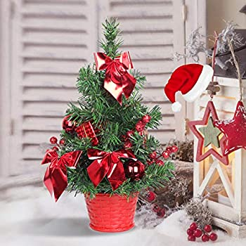 SHareconn Mini Artificial Tabletop Christmas Tree, 12 Inch Xmas Decor Tree with Red Ornaments Perfect for Table and Desk Tops