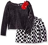 Youngland Little Girls' 2 Piece Velvet Top and Jacquard Dot Skirt, Black/Grey, 6X