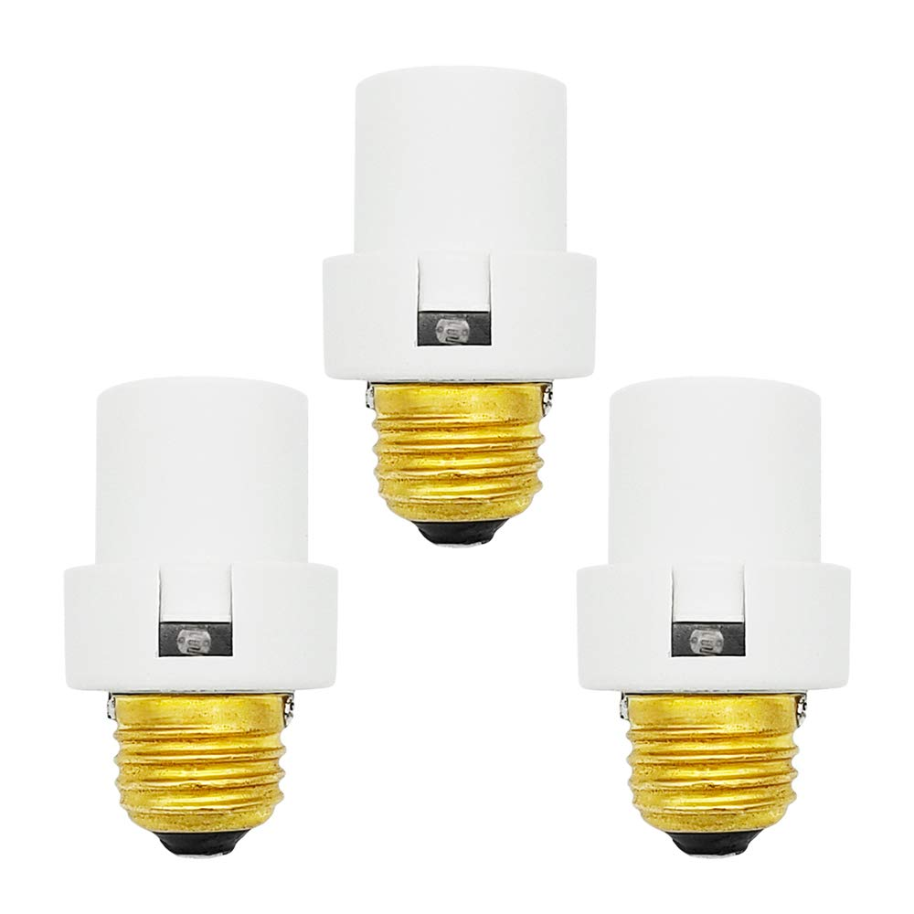 Uninex (3 Pack) Dusk to Dawn Photocell Light Control Auto Sensor Light Socket E26 E27 Medium Base White UL Listed