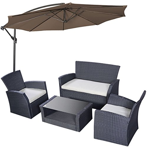 Tangkula 4pcs Patio Outdoor Wicker Furniture Set with Sha...