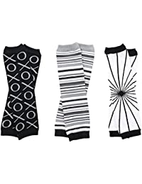 Urban Neutral 3 Pack of Baby and Toddler leg warmers Black Gray & White