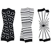 juDanzy Urban Neutral 3 Pack of Baby and Toddler leg warmers Black Gray & White (Newborn (up to 12 pounds))