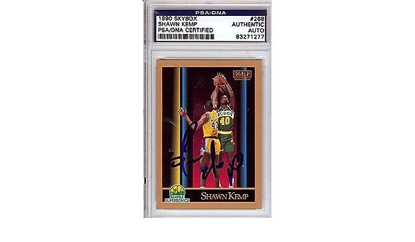 a8c9551c8976c Shawn Kemp Signed 1990 Skybox Rookie Card #268 Seattle Sonics - PSA ...