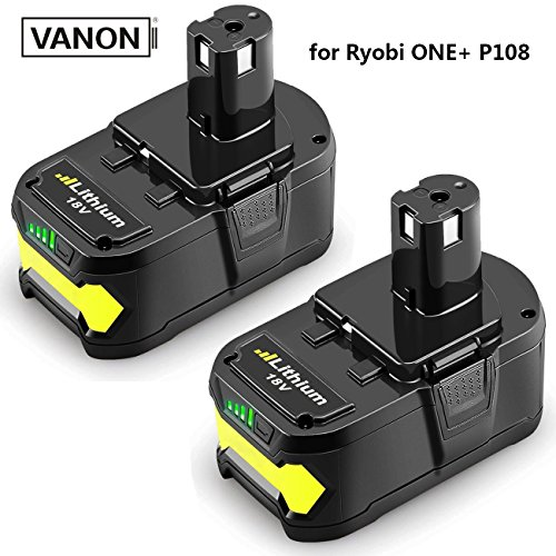 18V 6.0ah Lithium Ion Battery for Ryobi ONE+ P104 P105 P102 P103 P107 P108 P507 BPL-1815 BPL-1820G BPL18151 BPL1820 Cordless Power Tools (2-Pack) by VANON