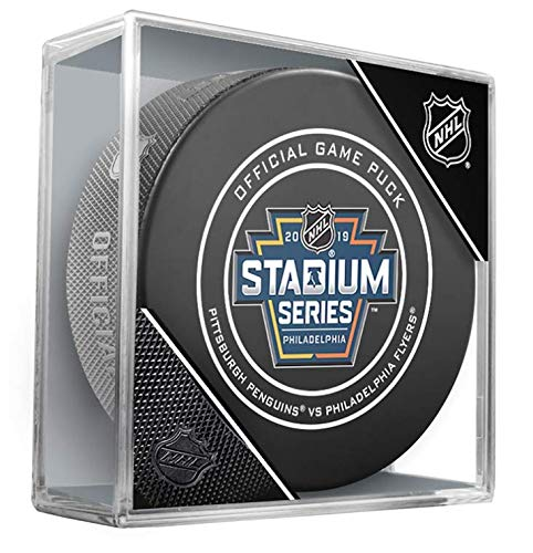 2019 Stadium Series Pittsburgh Penguins Philadelphia Flyers Official Game Hockey Puck with Holder