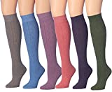 Tipi Toe Women's 6-Pairs Ragg Marled Argyle Knee High Wool-Blend Boot Socks, (sock size 9-11) Fits shoe size 6-9, WK01-CD