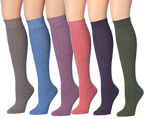 Tipi Toe Women's 6-Pairs Ragg Marled Argyle Knee High Wool-Blend Boot Socks, (sock size 9-11) Fits shoe size 6-9, WK01-CD (Knee Length Socks)