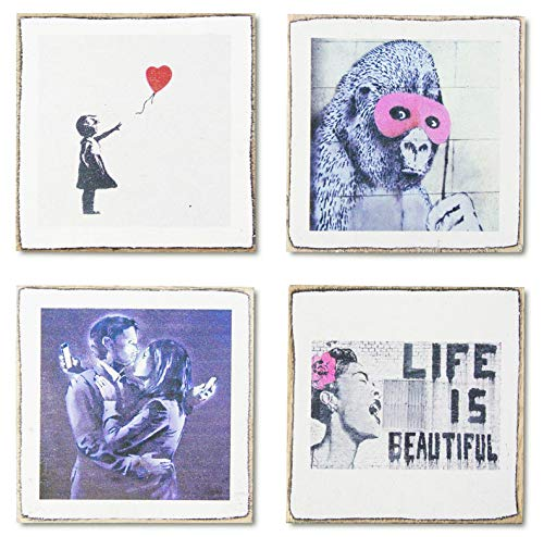 4 Banksy Art Coasters Set & Holder | Rustic Wood with Art Banksy Prints | Great Housewarming Gift | Gifts for Art Lovers by Zumatico