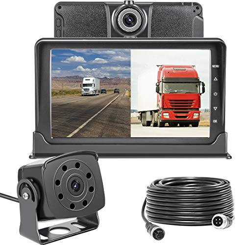 Dash Cam Front and Rear,Homder 7'' Monitor Front Lens with G-Sensor/Loop Recording/Motion Detection,IP69 Night Vision Rear View Camera Reversing Backup Camera for Trucks,Bus,Van,RV,Trailer