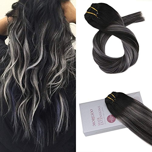 Moresoo 24 inch Clip in Extensions Human Hair Balayage Color Off Black #1B to Silver Grey Straight Clip in Human Hair Extensions Full Head 7pcs/120g Remy Human Hair Extensions Clip in Hair