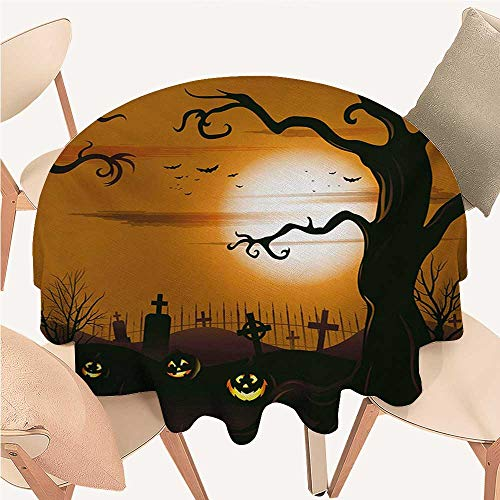 W Machine Sky Halloween Circular Table Cover Leafless Creepy Tree with Twiggy Branches at Night in Cemetery Graphic Drawing Round Tablecloth D 54