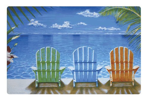 Beach Chairs Washable Plastic Vinyl Placemats Set of Four -