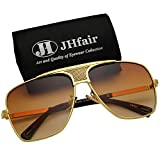 JHfair Brand Designer Large Square Aviator Fashion Mens Sunglasses