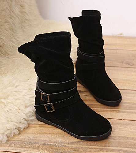 erthome Ladies Womens Low Wedge Buckle Biker Ankle Trim Flat Ankle Boots Shoes Outdoor Black UZGuRTJ4G