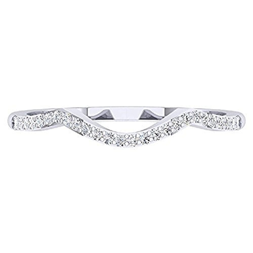 0.15 ctw 18K White Gold Plated Round Cut Created White Diamond Ladies Anniversary Wedding Stackable Band Contour Guard Ring Dabangjewels SVC00015