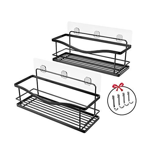 KINCMAX Shower Caddy Bathroom Shelf, No Drilling Traceless Adhesive Bathroom Storage Organizer, SUS304 Rustproof Food Storage Basket, 2-in-1 Kitchen Spice Racks-2 Pack (Matte Black)