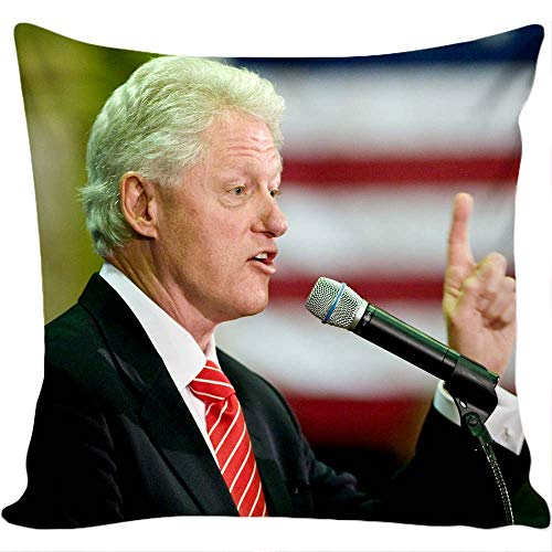 Case Clinton Bill (Decorative Pillow case with Bill Clinton Design, Micro Fiber Pillow Insert is Included.)
