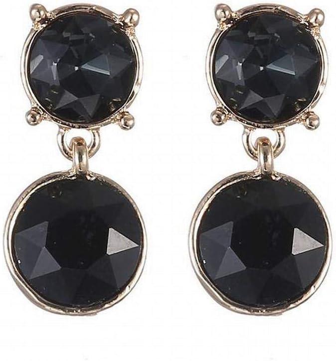 O&YQ Pendientes Redondos de Cristal de Mujer Pendientes de Piedras Preciosas, Gris Negro
