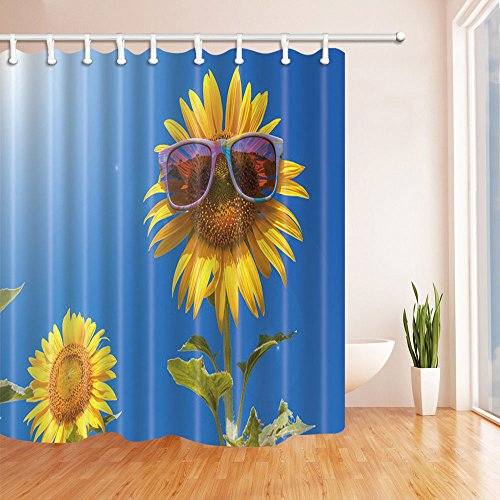 KOTOM Abstract Shower Curtains, Sunflowers with Sunglasses under Blue Sky, Polyester Fabric Waterproof Bathroom Bath Curtain, Shower Curtain Hooks Included, - Sunglasses Sunflower
