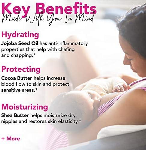 51wvjDoYJRL. AC - Pink Stork Nipple Cream: 100% Organic Breastfeeding Essentials With Jojoba Oil, Coconut Oil, Shea Butter, Lanolin Free, Heals Cracks + Pains, Women-Owned, 1 Oz