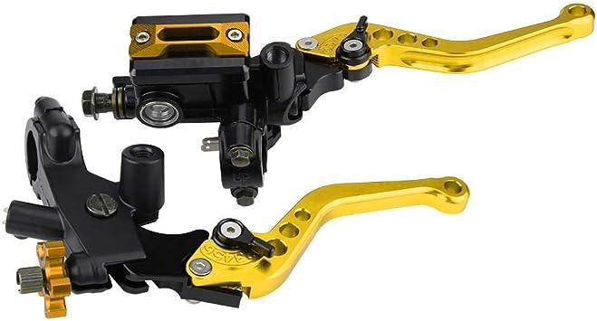 1 Paar Motorrad Brems Und Kupplungshebel Universal Bremskupplung Hauptbremszylinder Behälter 7 8 22mm Gold Auto